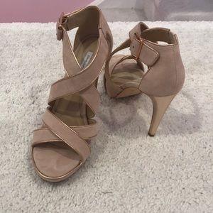 Diane Von Furstenberg nude suede gold trim heels